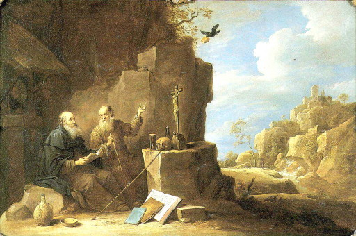 saint anthony abbot meets st paul the hermit by petrus agricola-sm